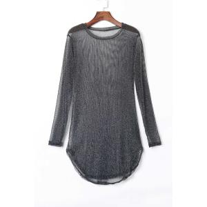 Attractive Solid Color Long Sleeve See-Through Slit Dress For Women - Black - L