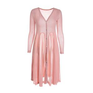 Casual V-Neck Flouncing Hem Single-Breasted Long Sleeves Solid Color Women's Knit Cardigan - Pink - One Size