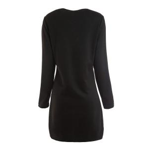 Buttons Design Long Sleeve Round Neck Pullover Women's Dress - BLACK M