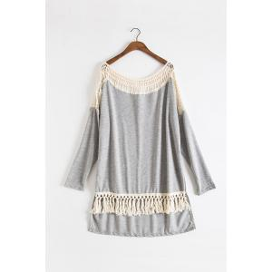 Fashionable Round Collar Long Sleeve Hollow Out Tassels Embellished Women's T-Shirt - Gray - Xl