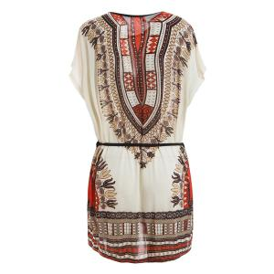 Retro Style V-Neck Ethnic Pattern Batwing Dress For Women -