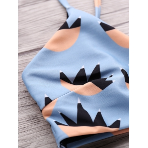 Cute High-Waisted Printed Bathing Suit - BLUE S