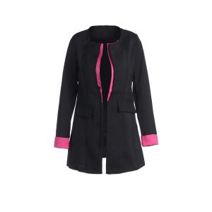 Long Sleeves Color Block Polyester Long Blazer - Black - L