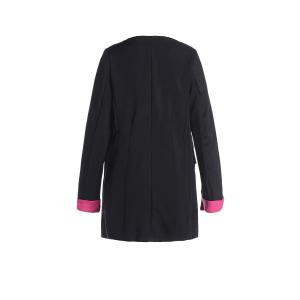 Color Block Fashionable Style Polyester Long Sleeves Women's Blazer - BLACK S