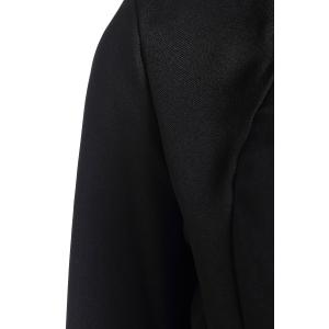 Long Sleeves Color Block Polyester Long Blazer - BLACK S