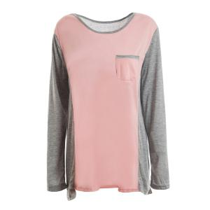 Scoop Neck Color Splicing Long Sleeve Women's T-Shirt - Pink - L