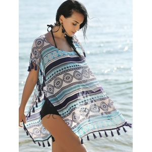 Stylish Scoop Neck Short Sleeve Ethnic Print Women's Cover Up Dress -
