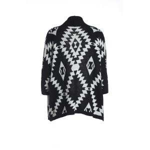 Women's Geometric Pattern Open Front Loose Sweater Wrap Cape Cardigan - Black - One Size