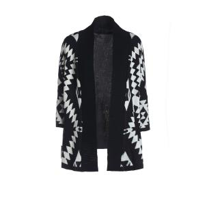 Women's Geometric Pattern Open Front Loose Sweater Wrap Cape Cardigan - BLACK ONE SIZE