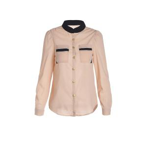 Women's OL Style Slim Splicing Color Chiffon Stand-Collar Shirt Blouse - Apricot - S