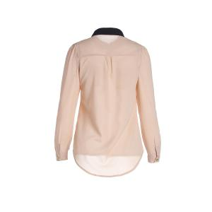 Women's OL Style Slim Splicing Color Chiffon Stand-Collar Shirt Blouse - APRICOT S