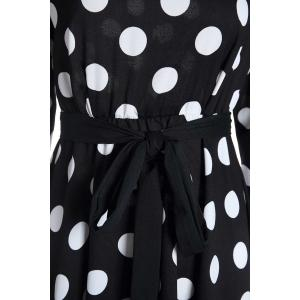 3/4 Sleeves Scoop Neck Polka Dot Pattern Ladylike Women's Dress -