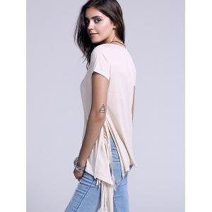 Chic Scoop Neck Side Slit Fringed Women's T-Shirt - LIGHT KHAKI XL