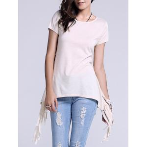 Chic Scoop Neck Side Slit Fringed Women's T-Shirt