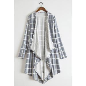 Stylish Collarless Long Sleeve Plaid Asymmetrical Women's Thin Cardigan