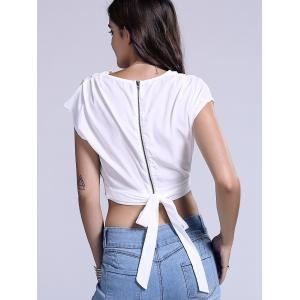 Chic Plunging Neck Zippered Plain Crop Top - WHITE XL
