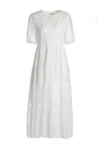 Outfit Bohemian Jewel Neck Short Sleeves Maxi Dress For Women - S WHITE Mobile