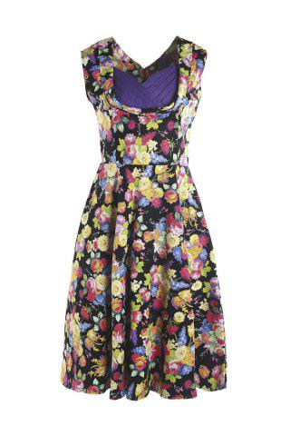 Cheap Sweet Style Sweetheart Neck Sleeveless Floral Print Women's Dress COLORMIX M