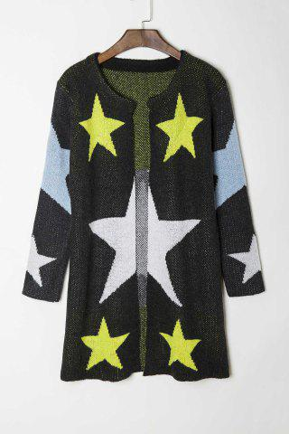 Fashionable Round Collar Star Pattern Long Sleeve Cardigan For Women - BLACK - ONE SIZE(FIT SIZE XS TO M)