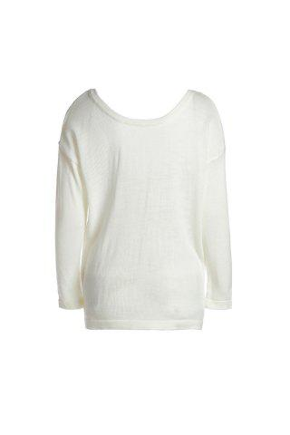 Outfits Stylish Round Neck Long Sleeve Backless Loose-Fitting Women's Knitwear - S MILK WHITE Mobile