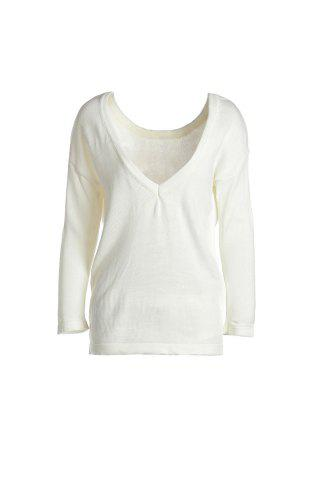 Stylish Round Neck Long Sleeve Backless Loose-Fitting Women's Knitwear - MILK WHITE - L