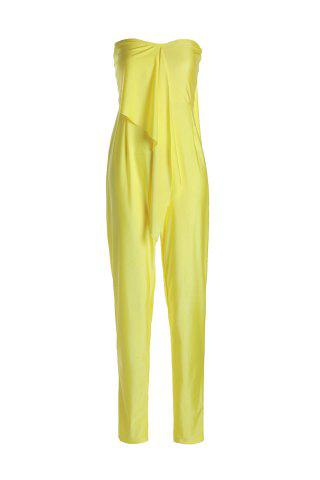 Stylish Strapless Sleeveless Solid Color Self-Tie Women's Jumpsuit