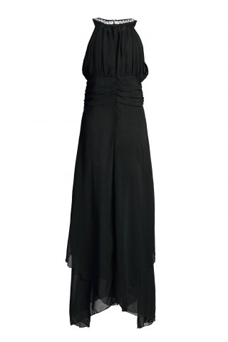 Unique Maxi Chiffon Empire Waist Flowy Cocktail Dress - M BLACK Mobile