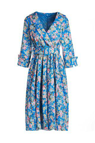 Buy Vintage Shawl Collar 3/4 Sleeve Full Tiny Floral Print With Belt Women's Dress