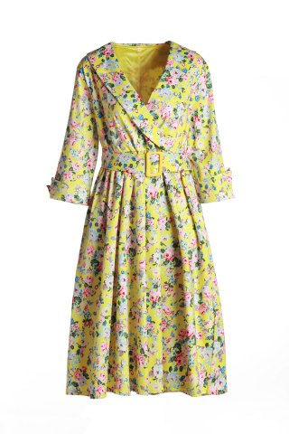 New Vintage Shawl Collar 3/4 Sleeve Full Tiny Floral Print With Belt Women's Dress