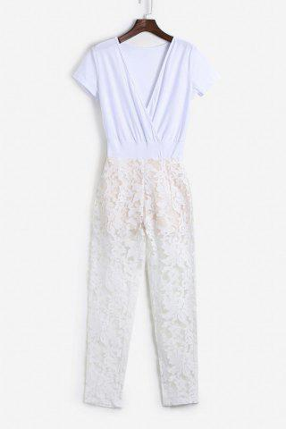 Online Attractive Plunging Neck See-Through Lace Spliced Jumpsuit For Women WHITE M