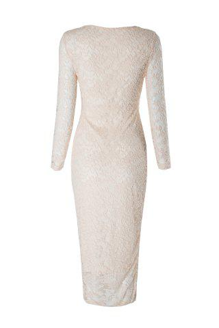 New Charming Long Sleeve Solid Color Slimming Lace Women's Dress