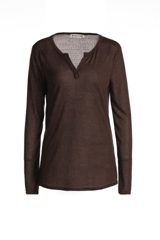 Best Casual V-Neck Long Sleeve Pure Color T-Shirt For Women - S BROWN Mobile