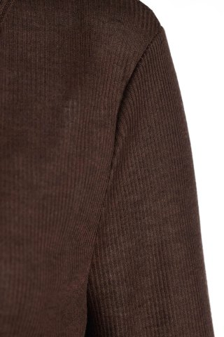 Online Casual V-Neck Long Sleeve Pure Color T-Shirt For Women - M BROWN Mobile