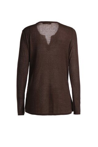 Online Casual V-Neck Long Sleeve Pure Color T-Shirt For Women - L BROWN Mobile