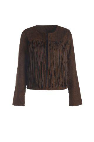 Trendy Stylish Round Neck Long Sleeve Solid Color Fringed Women's Jacket