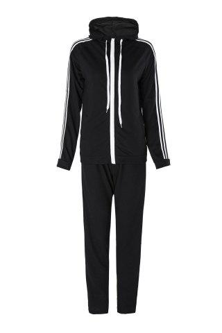 Shops Active Hooded Long Sleeve Striped Jacket + Waist Drawstring Pants Women's Activewear Suit - XL BLACK Mobile