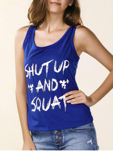 Discount Fashionable Scoop Collar Letter Print Skinny Women's Tank Top