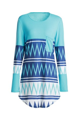 Fancy Stylish Scoop Neck Zig Zag Print Long Sleeve T-Shirt For Women - XL COLORMIX Mobile