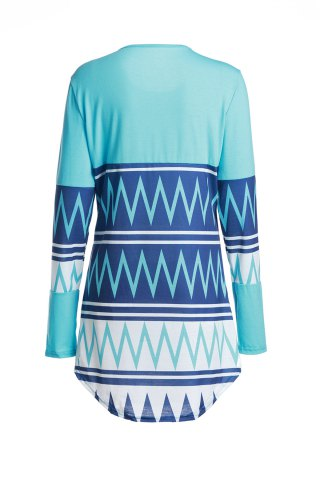 Trendy Stylish Scoop Neck Zig Zag Print Long Sleeve T-Shirt For Women - XL COLORMIX Mobile