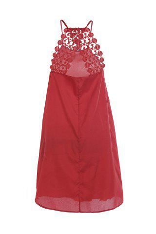 Buy Short Red Spaghetti Strap Crochet Lace Dress - M RED Mobile