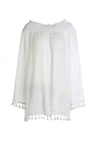 Sale Off Shoulder Long Sleeve Tunic Dress with Tassel WHITE L