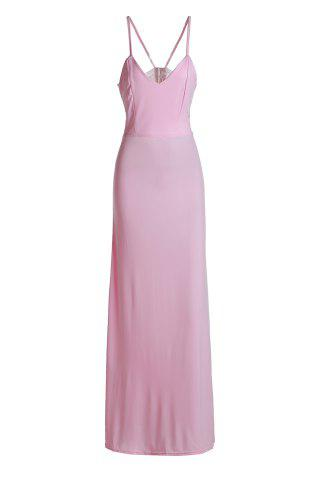 Sexy Spaghetti Strap Pink Lace Spliced Sleeveless Dress For Women