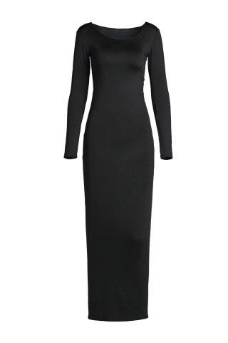 Fashion Sexy Style U Neck Long Sleeve Solid Color Women's Bodycon Dress