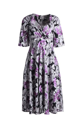 Outfits Vintage Sweetheart Neck Short Sleeve Floral Print Women's Dress GRAY L