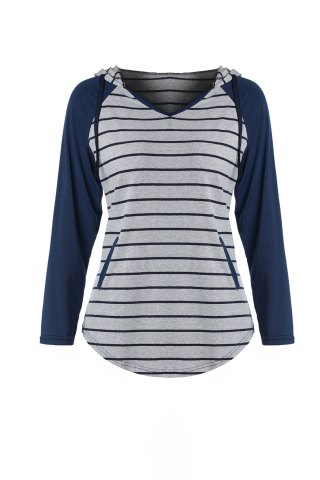 Sale Chic Hooded Long Sleeve Striped Pocket Design Women's Hoodie