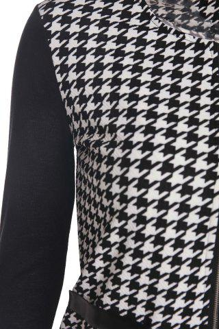 Fancy Elegant Scoop Neck Color Block Houndstooth Printed Coat For Women - L WHITE AND BLACK Mobile