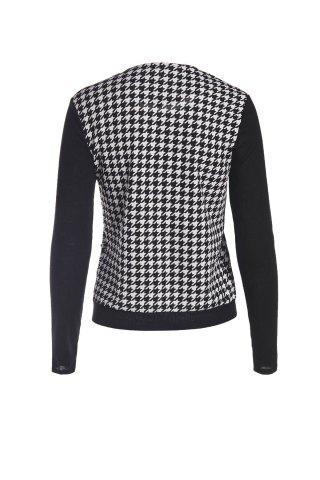 Affordable Elegant Scoop Neck Color Block Houndstooth Printed Coat For Women - L WHITE AND BLACK Mobile
