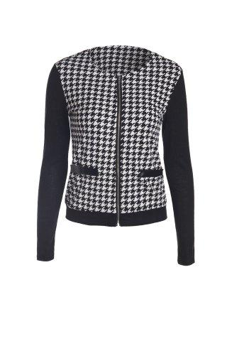 Elegant Scoop Neck Color Block Houndstooth Printed Coat For Women - White And Black - L