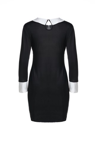 Fancy Fashion Flat Collar 3/4 Sleeve Hit Color Women's Dress - M BLACK Mobile
