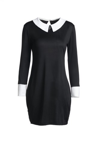 Outfits Fashion Flat Collar 3/4 Sleeve Hit Color Women's Dress - M BLACK Mobile
